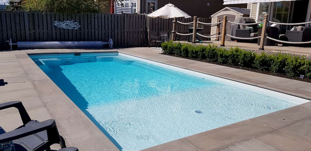 Finished installation of a fiberglass pool