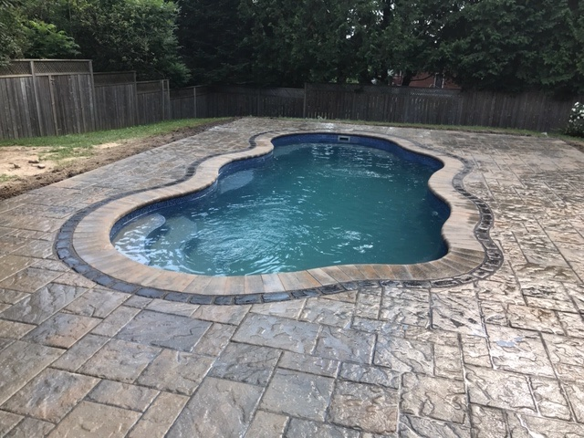 Fiberglass pool in a backyard, Barrie, Ontario