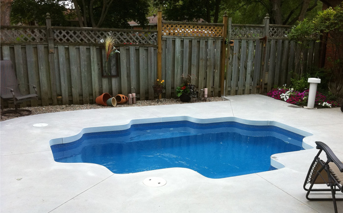 Small fiberglass swimming pool